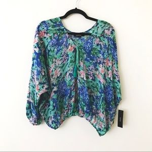 LULU'S Green & Blue Sheer Watercolor Floral Top